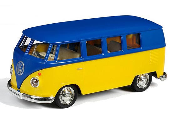 1:36 Scale Yellow-Blue Kids Die-Cast VW T1 Bus Toy
