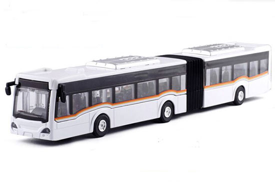 Red / White / Yellow / Blue 1:64 Diecast Articulated Bus Toy