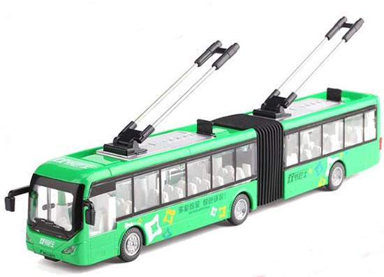 Red /White /Green 1:48 Kids Diecast Articulated Trolley Bus Toy