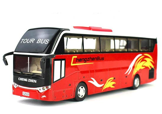 Kids White / Red / Yellow Diecast Coach Bus Toy