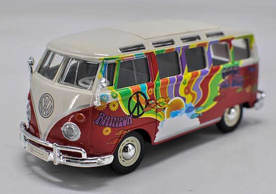 Red Colorful Painting 1:24 Maisto Diecast VW T1 Bus Model