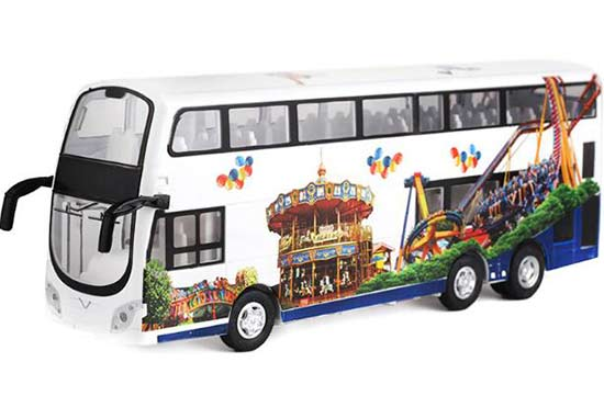 White 1:32 Scale Kids Diecast Double Decker Bus Toy