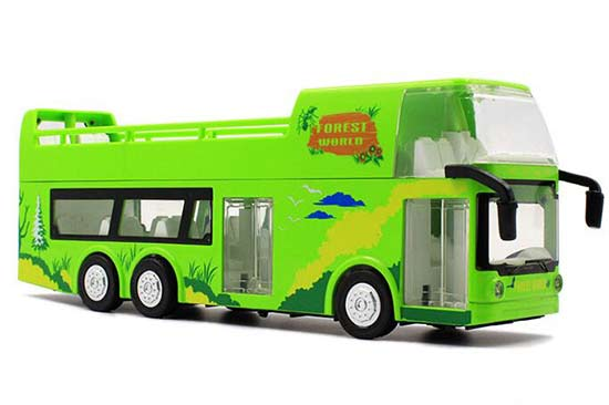 1:32 Scale Green Kids Diecast Double Decker Sightseeing Bus Toy