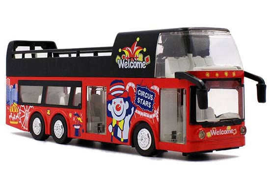 Red 1:32 Scale Circus Diecast Double Decker Sightseeing Bus Toy