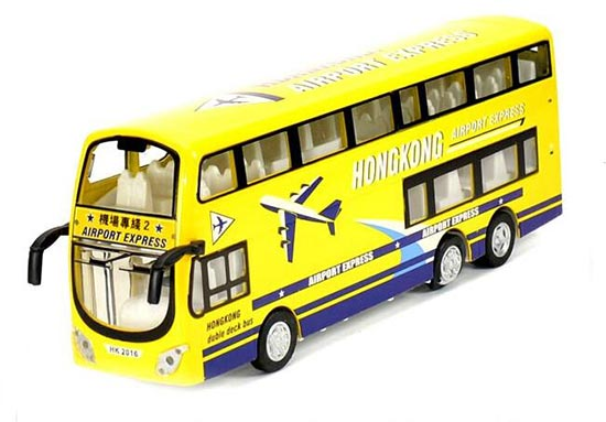 1:32 Yellow Hong Kong Airport Kid Diecast Double Decker Bus Toy