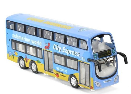 Kids Blue 1:32 Scale Hong Kong Diecast Double Decker Bus Toy
