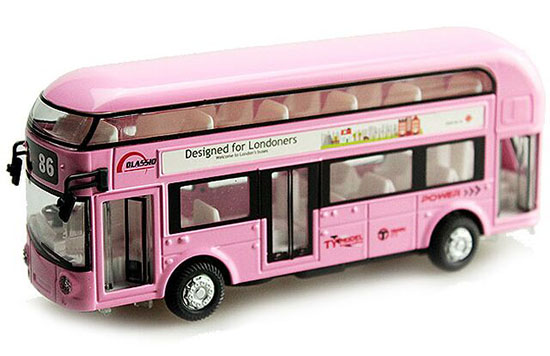 Red / Yellow / Pink / Blue Diecast London Double Decker Bus Toy