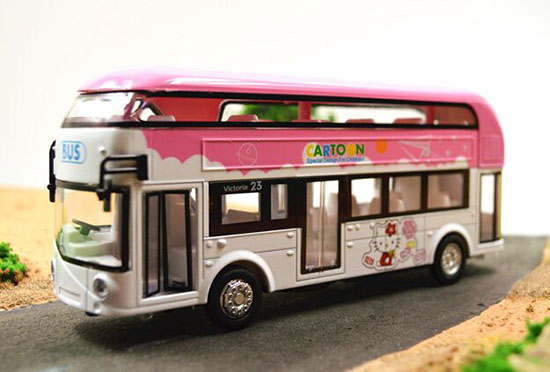 1:32 Scale Pink Kids Hello Kitty Diecast Double Decker Bus Toy
