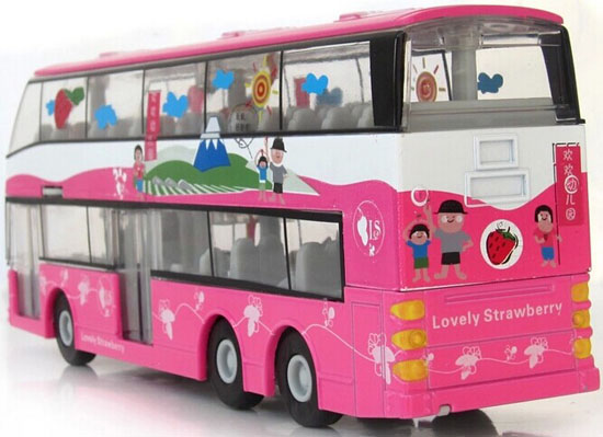 Kids 1:32 Scale Pink Strawberry Diecast Double Decker Bus Toy