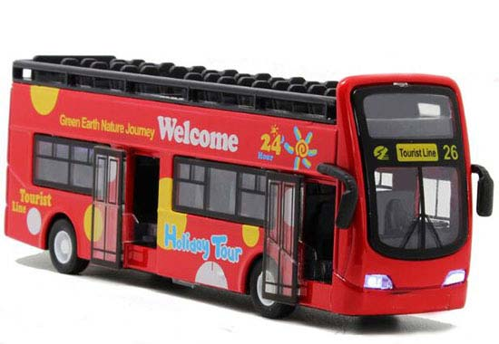 1:32 Scale Yellow / Green / Red Diecast Double Decker Bus Toy