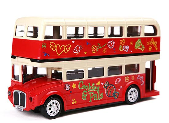 Kids 1:32 Scale Red Diecast London Double Decker Bus Toy
