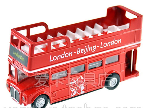 1:76 Kids Red Diecast London Double Decker Sightseeing Bus Toy