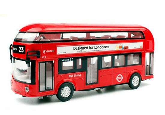 Kids White / Blue / Red Diecast London Double Decker Bus Toy