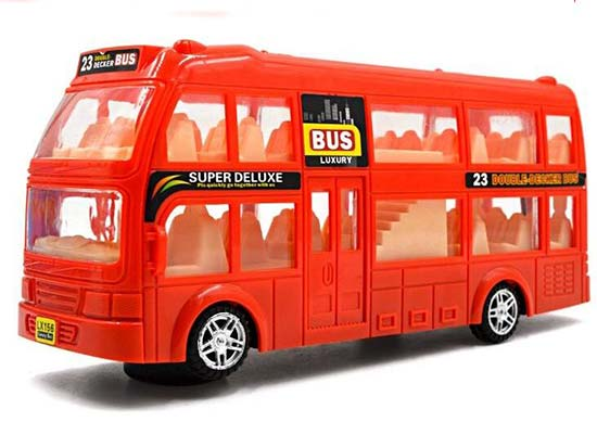 Kids Red / Orange Electric Plastic Double Decker Bus Toy