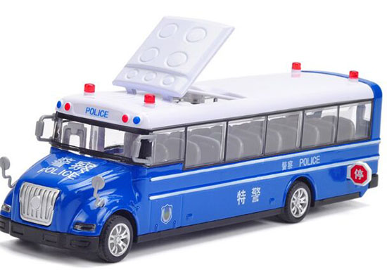 Kids Blue 1:55 Scale Diecast Police School Bus Toy