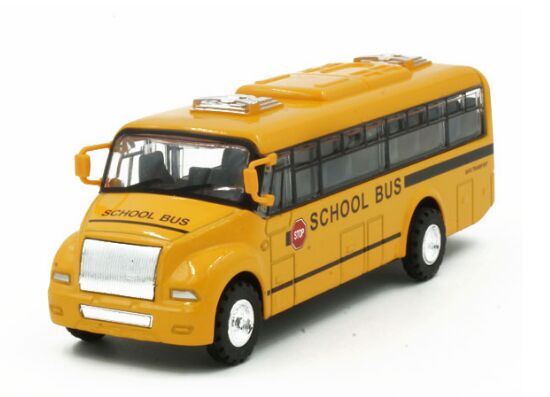 Pull-Back Function Kids Yellow Diecast School Bus Toy