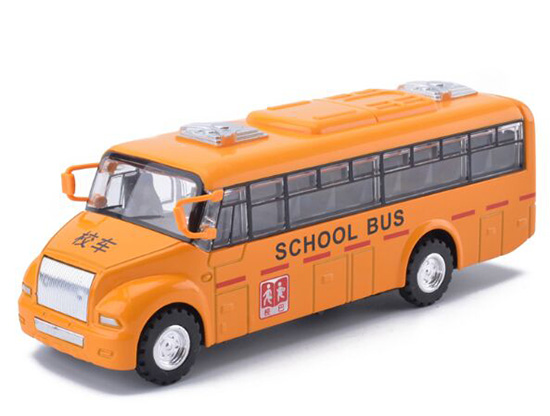 Kids Yellow Pull-Back Function Diecast School Bus Toy