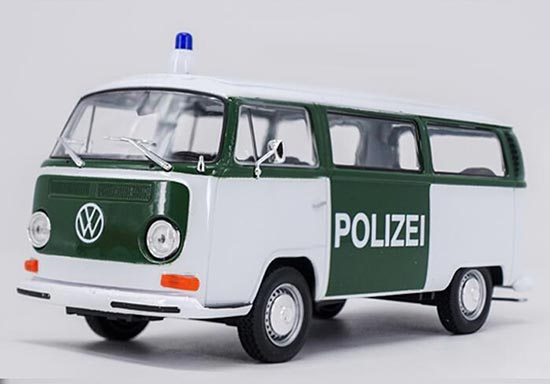 1:24 Scale Welly White-Green Police Diecast VW T2 Bus Model