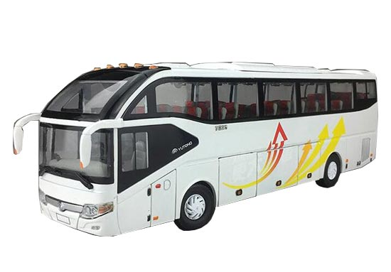 1:42 Scale White Diecast YuTong ZK6127H Coach Bus Model