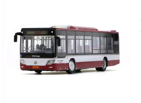 Red 1:64 Scale NO.18 Diecast Foton BJ6123C7BCD-2 Bus Model