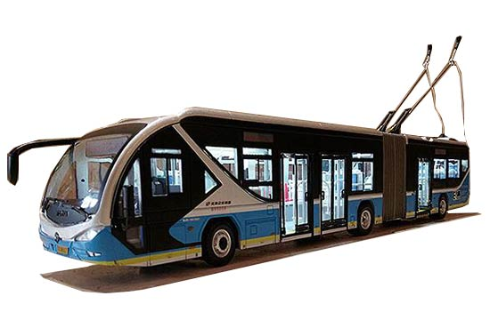 1:43 Scale Blue Diecast Foton BJDWG180F Trolley Bus Model