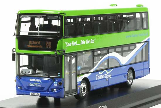 Green 1:76 UKBUS9004 Diecast Scania Double Decker Bus Model