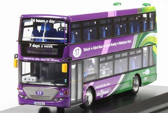 Purple 1:76 UKBUS9005 Diecast Scania Double Decker Bus Model
