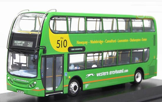 Green 1:76 UKBUS6027 Diecast Alexander Double Decker Bus Model