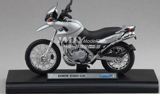 Silver-Black 1:18 Scale Welly BMW F650GS Motorcycle