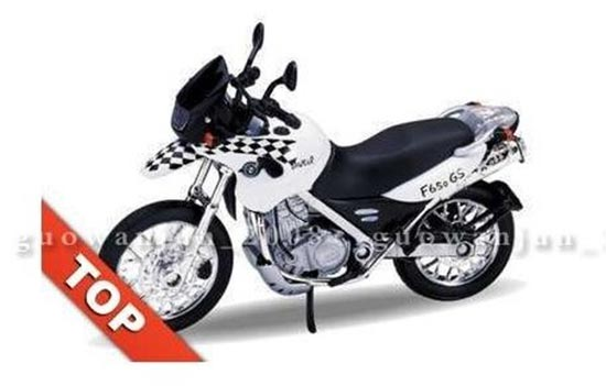 White-Black 1:18 Scale Welly BMW F650GS DAKAR Motorcycle