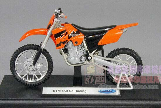 Orange-Black 1:18 Scale Welly KTM 450 SX Racing Motorcycle