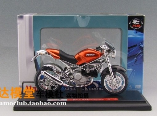 Red 1:18 Scale MaiSto Diecast Ducati Monster S4 Motorcycle