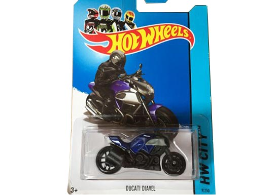 Mini Scale Red / Blue Hotwheels Ducati Diavel Motorcycle