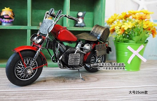 Vintage Style Tinplate Made Red Motorcycle Model