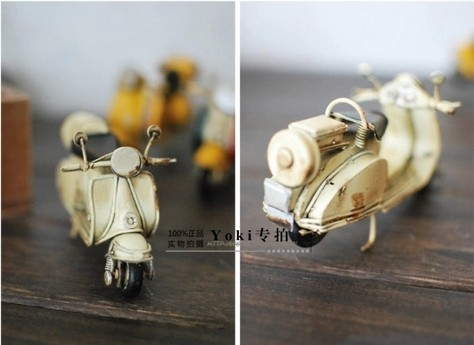 Pink / Creamy White Mini Scale Tinplate Vintage Vespa Motorcycle