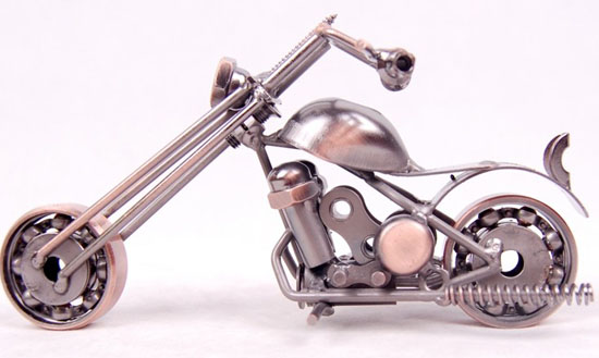 Mini Scale Bronze / Silver Vintage Style Motorcycle Model