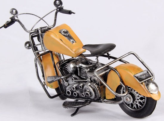 Vintage Style Yellow / Red / Blue / White Tinplate Motorcycle