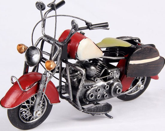 Red / Blue / White / Yellow Tinplate Vintage Motorcycle Model
