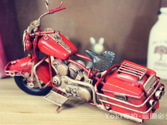 Red / Yellow Vintage Style Tinplate Motorcycle Model