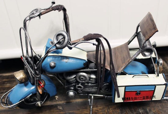 Blue Medium Scale Home / Office Decoration Motorcycle Model