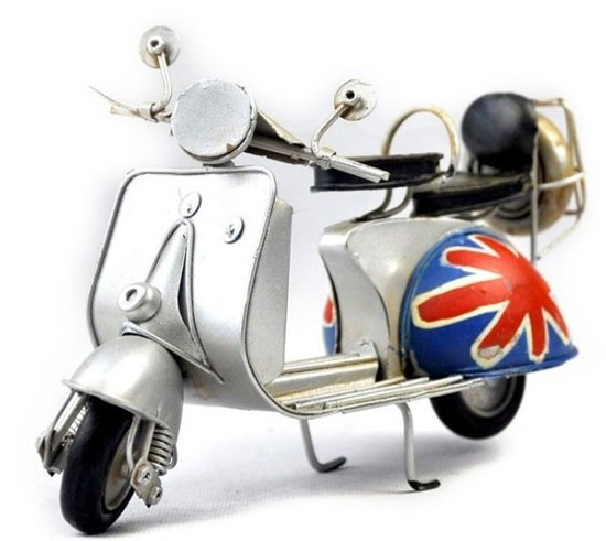Mini Scale White Vintage Style Tinplate Motorcycle Model