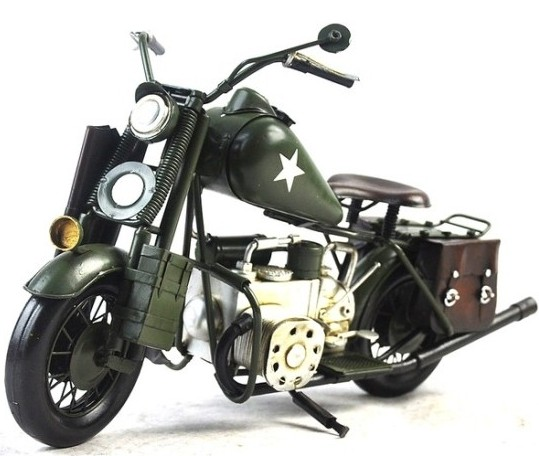 Large Scale Army Green 1943 Harley Davidson Motorcycle Model