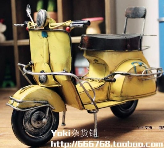 Yellow Vintage Style Tinplate 1954 Italy Lambretta Model