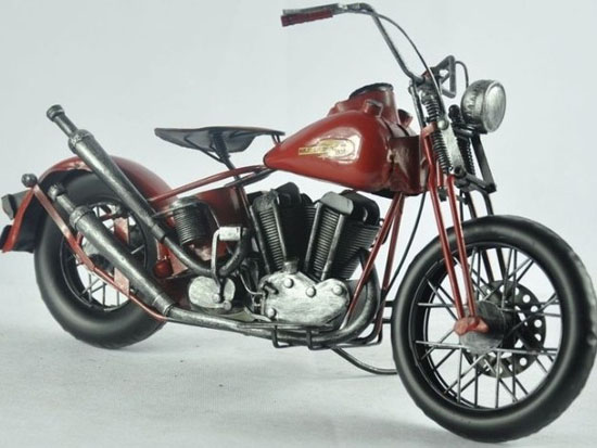 Large Scale Wine Red 1962 Harley Davidson FLH DUO GLIDE Model