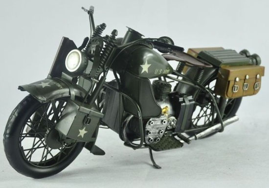Army Green Large Scale 1943 Harley Davidson WLA Motory Model