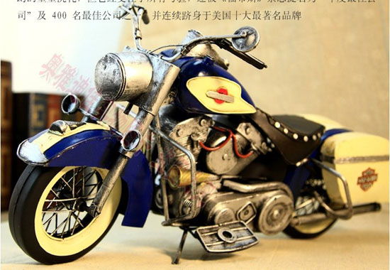 Blue-White Large Scale 1972 Harley Davidson Motorcycle Model