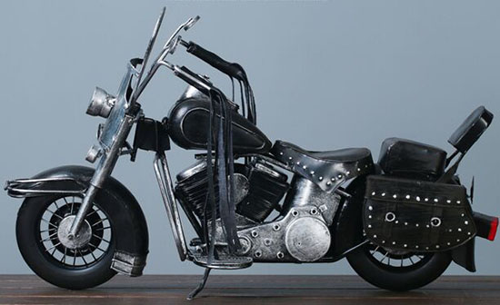 Large Scale Black Vintage Style Harley Davidson Motorcycle Model