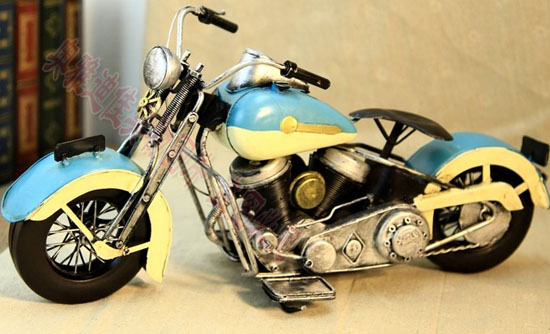 Blue-White Tinplate Made Harley Davidson Motorcycle Model