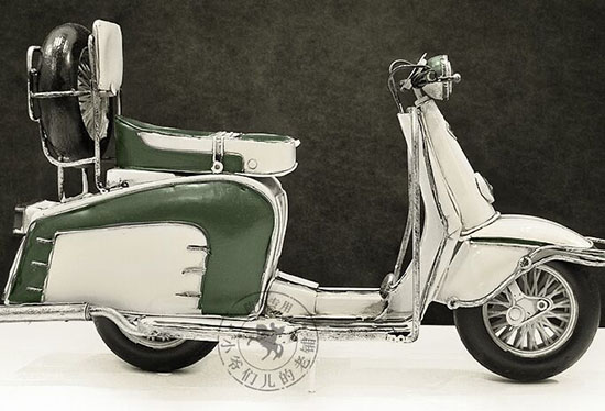 White-Green Tinplate Made Treadle Motorcycle Model