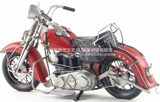 Red-Black Tinplate 1939 Harley Davidson EL 1000 Model